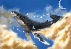 A great flight, Carlos Sallas on ArtStation at https://www.artstation.com/artwork/a-great-flight  #whale #big #clouds #flying #flight #birds #air #dream #fantasy #sea #moon #poetry #humpback #nubes #sky #vuelo #ballena #aire #volar #sueño