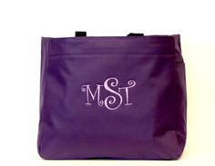 Monogrammed Tote Bag Purple Arden Tote Curlz Font by Bloomingdeals