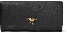 Black textured-leather (Calf) Snap-fastening front flap Made in Italy Branded Tote Bags, Prada Wallet, Continental Wallet, Card Holder, Texture, Pocket, Purses, Leather, Black