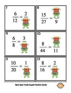 Equal Fractions Quiz Quiz Trade Activity Transportation Preschool Activities, Printable Numbers, Student Engagement, Preschool Kindergarten, Colored Paper, Fractions, Toddler Crafts, Teaching Resources, Equality