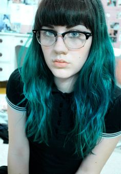 teal and brown hair