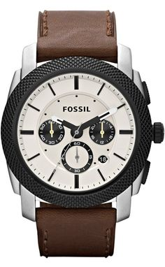 Fossil Men's FS4732 Machine Brown Leather Watch < $92.15 > Fossil Watch Men