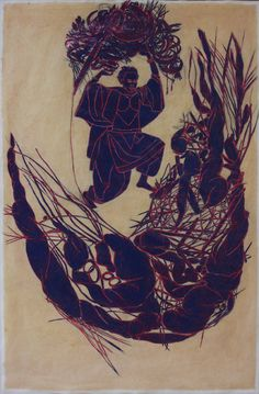 """Mequitta Ahuja - Dream Sequence: """"Coolie For Raptors"""" Enamel and Glitter on Hand-Colored Paper, 36""""X24"""" 2010"""