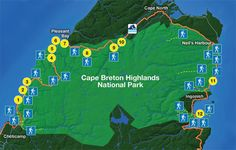 Sightseeing map of Cape Breton Highlands National Park; this page has sights along the trail and in the park