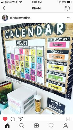 Materials to keep parents updated. Kindergarten Classroom Decor, Classroom Setup, Classroom Design, Classroom Displays, Future Classroom, Preschool Decor, Classroom Calendar, Classroom Bulletin Boards, Calendar For Preschool