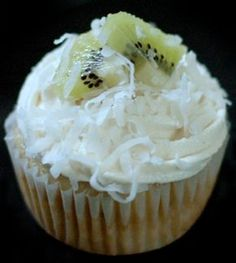 Coconut Kiwi Cupcake with Vegan Lemon Curd and Fluffy Coconut Frosting