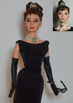 .Watch out Noel Cruz and others...this girl is coming and her repains are amazing! OOAK Audrey Hepburn doll Holly Golghtly by Lulemee via DA.