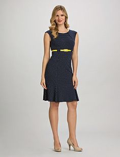 Belted A-Line Polka Dot Dress - Totes Adorbes for the upcoming Assembly! (dressbarn.com)