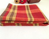 Phases Tea Towel - Hand Woven Cotton Red, Brown, and Tan Hand Towel Cloth or Table Covering in Goose Eye Twill