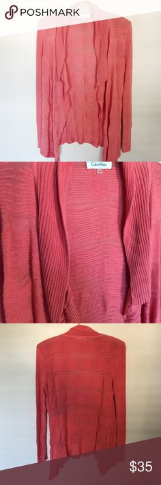 Calvin Klein silk coral open front cardigan Excellent condition, size small. 55% Rayon, 45% silk Calvin Klein Sweaters Cardigans