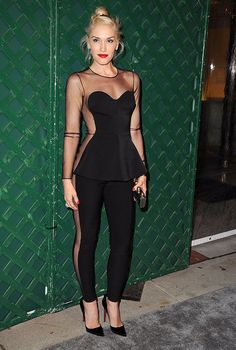 Gwen Stefani in edgy Stella McCartney jumpsuit featuring lots of sheer paneling.