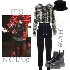 BTS J-Hope MIC Drop inspired outfit by melaniecrybabyz on Polyvore featuring polyvore, fashion, style, NIKE, Dr. Martens, Zoë Chicco, Lacoste and clothing