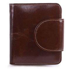 AINIMOER Womens Small Billfold Genuine Leather TriFold Wallet with Zipper PocketCoffee * Find out more about the great product at the image link.