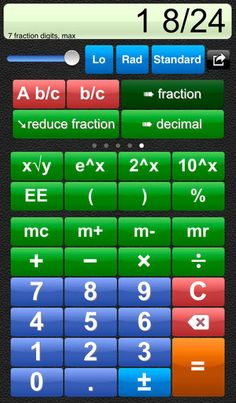 Talking Scientific Calculator ($4.99) Designed for a wide range of users, this calculator has large colorful buttons, optional high contrast, full VoiceOver support, and unique to this calculator; the option to use speech for answers, buttons names and formulas!  Can read answers, entered numbers and formulas aloud. Built in recording studio and script. Requires only 5 minutes to record a new voice. Recordings can be transferred between devices using Bluetooth.