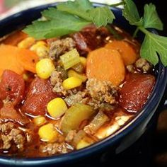 Hamburger Soup. I have made and love this soup. I usually add pasta or potato to make it more hearty