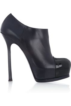 Saint Laurent|Tribute Two patent and leather ankle boots |NET-A-PORTER.COM
