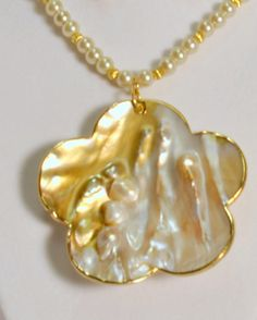 Large Flower Shape Blister Pearl Pendent by HandmadeFourYou, $30.00
