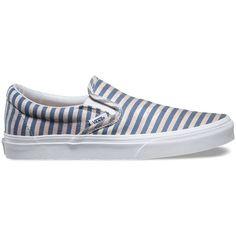Vans Stripes Slip-On ($55) ❤ liked on Polyvore featuring shoes, sneakers, white, vans footwear, vans sneakers, low top, low profile sneakers and pull-on sneakers