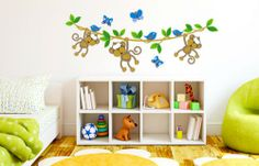 "Wall Decal ""Monkeys on a vine"" South African Store"