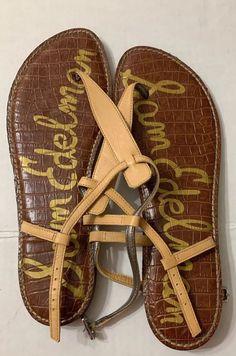 aa5e1d7f8b6bb0 Sam Edelman Size 11 Gigi Nude Patent Leather T-Strap Flat Sandals Thong   fashion