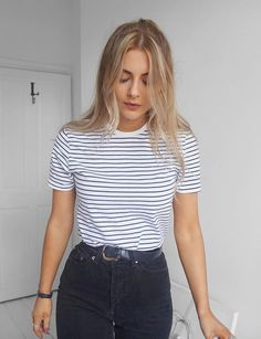 striped t-shirt and mom waisted jeans