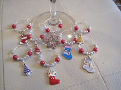 Christmas Wine charms on a Christmas Stocking by BeadiTique