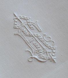 Antique Linens -Antique Monogrammed Double Damask Napkins