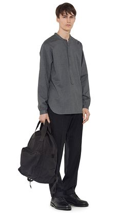 AUTUMN WINTER 14 - Charcoal cotton collarless shirt, charcoal wool trouser, black nylon canvas backpack, black leather boot