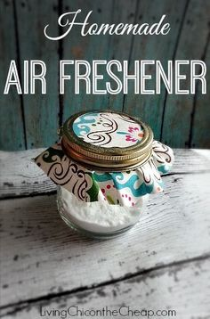 ***Homemade Air Freshener*** 5 minute project! You only need 2 Ingredients to make this! SO much Cuter than those retail air fresheners. Customize to your favorite scent and choose fabric/ scrapbook paper to compliment your decor. #DIY 1/2 cup baking soda & 10-20 drops of essential oils :)