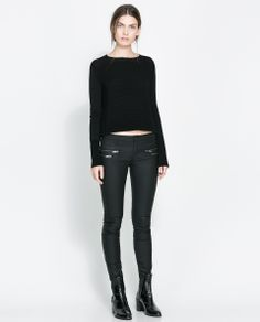 ZARA - NEW THIS WEEK - COATED TROUSERS WITH ZIPS