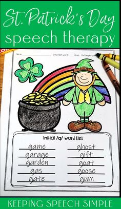 These fun St. Patrick's Day speech therapy worksheets are a fun speech therapy activity to use with your elementary students! Use these sheets with your mixed groups in your speech room.  Included are most sounds, all initial blends, most vocalic /r/ targets, as well as blank worksheets for your own targets. Blank worksheets can be used for vocabulary, sentence generation and other targets. These printables are a great no prep activity for the the busy SLP. Use in your speech room.