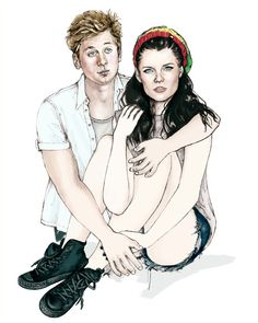 "Shameless. Jeremy Allen White as Lip Gallagher. Emma Greenwell as Mandy Milkovich. ""South Side Story: Lip and Mandy."" Myrtle Quillamor, Illustrator. New York, 2014. www.myrtlequillamor.com"