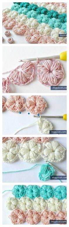 Crochet Flower Puff Stitch Free Pattern - Les re. - Crochet Flower Puff Stitch Free Pattern – Les re… Crochet Flower Puff Stitch Free Pattern – Les repère en même temps que fibule les plus basiques comprennent le centr Crochet Diy, Crochet Motifs, Crochet Stitches Patterns, Love Crochet, Crochet Crafts, Yarn Crafts, Crochet Flowers, Crochet Projects, Stitch Patterns
