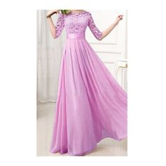 Rotita Purple Half Sleeve Lace Splicing Chiffon Maxi Dress ($22) ❤ liked on Polyvore featuring dresses, gown, purple, pink dress, pink ball gown, purple lace dress, pink gown and purple evening gown