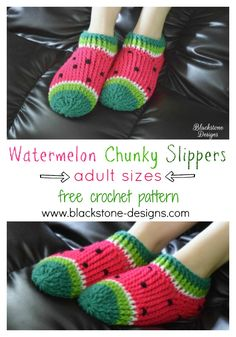 Watermelon Chunky Slippers - adult sizes - free crochet pattern from Blackstone Designs #crochet #freecrochetpattern #slippers #watermelons #DIY #crafts #watermelonslippers