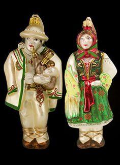 Goral Couple, Green Skirt, White Jacket Glass Ornament