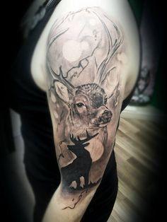 Skin Deep Tales - Matt Mutluer Home Tattoo, 27 Tattoo, Tattoo Zone, Deer Tattoo, Tattoo Motive, Cool Arm Tattoos, Dad Tattoos, Cover Up Tattoos, Body Art Tattoos