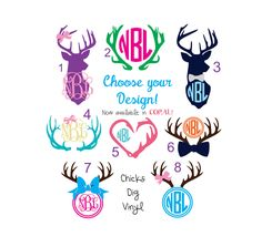 Deer Monogram Vinyl Decals - Choose your design! by ChicksDigVinyl on Etsy https://www.etsy.com/listing/200321045/deer-monogram-vinyl-decals-choose-your