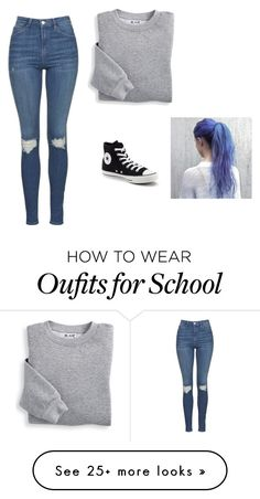 """What I would wear to school since I'm always cold"" by unicornlover17 on Polyvore featuring Topshop, Blair and Converse"