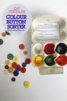 This easy to make DIY BUTTON SORTER takes a few minutes to make from basic craft supplies including buttons paint and an old egg box. This is a great little DIY toy for toddlers and helps with fine motor skills as well as understanding colours. Egg Box Craft, Easy Crafts, Crafts For Kids, Small Craft Rooms, Diy Buttons, Fun Activities For Kids, Love Craft, Diy Toys, Craft Items