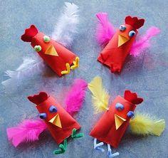 Leuke en vrolijke vogeltjes van w.c. rolletjes!