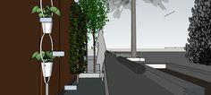 Tuinontwerp en idee voor beplanting, plantbakken etc. - woonboot aan de Amstel.