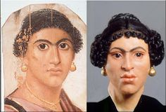 Roman Egyptian Fayum Mummy portrait of a woman from Haeawa, AD 55-70, and facial reconstruction from the skull. The British Museum.