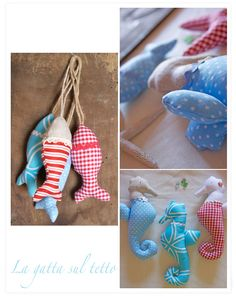 fabric fish and seahorse, could be cute Christmas tree ornaments on my ocean inspired theme tree.