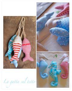 fabric fish and seahorse