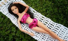 Happier Than A Pig In Mud: Barbie Hammock from Hanger, Popsicle Sticks and Triple Crochet-Tutorial