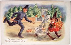 A baton-wielding cop chasing two innocent children: | 22 Truly Bizarre Vintage Halloween Postcards