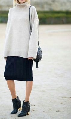 example of an oversized sweater with a pencil skirt//// boots and SKIRTS!