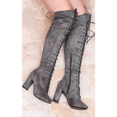 9760407c2628 SpyLoveBuy Nisha Lace Up Block Heel Over Knee Tall Boots Grey Suede... (