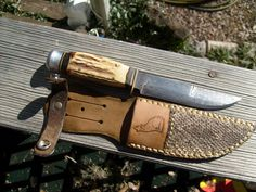 Leather Knife Sheath with Rattlesnake Skin by SuburbanLeatherworks